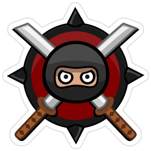 """""""Ninja with Crossed Swords"""" Stickers by snoutup 