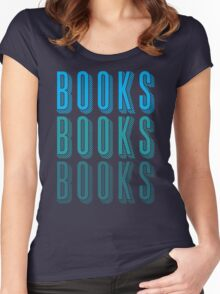 BOOKS BOOKS BOOKS in blue Women's Fitted Scoop T-Shirt