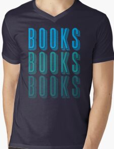 BOOKS BOOKS BOOKS in blue Mens V-Neck T-Shirt