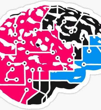 colorful cyborg brain machine computer science fiction microchip intelligence brain design cool robot black Sticker
