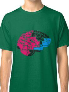 colorful cyborg brain machine computer science fiction microchip intelligence brain design cool robot black Classic T-Shirt