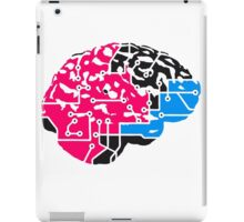colorful cyborg brain machine computer science fiction microchip intelligence brain design cool robot black iPad Case/Skin