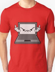 angry middle finger wichser comic cartoon face furious show insult finger computer laptop notebook pc write screen mobile tablet Unisex T-Shirt