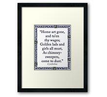 Home Art Gone - Shakespeare Framed Print