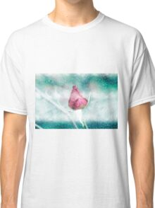 Digitally manipulated Pink garden rose in a blizzard  Classic T-Shirt