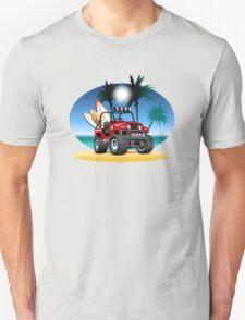 Cartoon Jeep on the beach Unisex T-Shirt