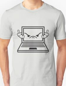 angry middle finger wichser comic cartoon face furious show insult finger computer laptop notebook pc write screen mobile tablet T-Shirt