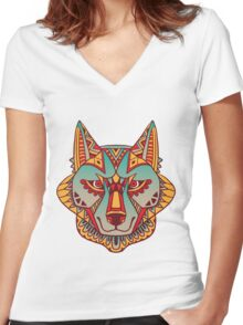 Native Wolf Women's Fitted V-Neck T-Shirt