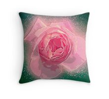 Digitally manipulated exploding Pink English rose as seen from above  Throw Pillow