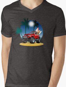 Cartoon Jeep on the beach Mens V-Neck T-Shirt