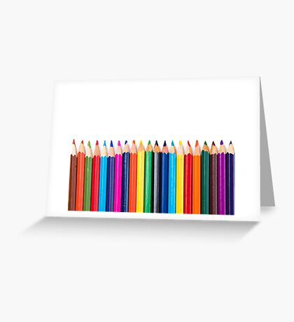 colored pencils closeup on white background Greeting Card