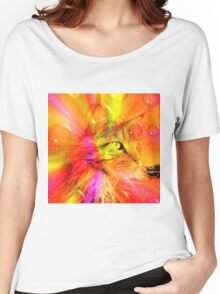 Funky Portrait of a Maine Coon cat    Women's Relaxed Fit T-Shirt