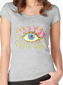 Front Looking Psychedelic Eye Women's Fitted Scoop T-Shirt