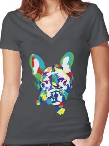 Baby French Bulldog puppy Women's Fitted V-Neck T-Shirt