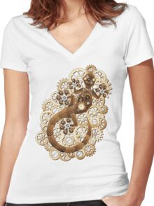 Steampunk Gecko Lizard Vintage Style Women's Fitted V-Neck T-Shirt
