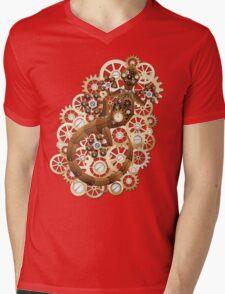 Steampunk Gecko Lizard Vintage Style Mens V-Neck T-Shirt