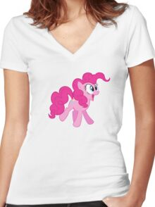 HAPPY PINKIE PIE Women's Fitted V-Neck T-Shirt