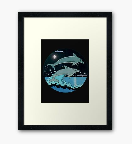 Dolphin`Leap for the Stars II' Tee Shirt Framed Print