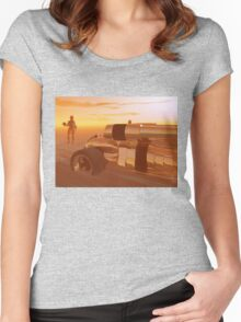 ARES CYBORG IN THE DESERT OF HYPERION,Sci Fi Women's Fitted Scoop T-Shirt