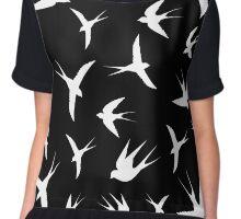 flying birds on white background,vector illustration Chiffon Top