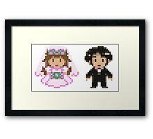 8-bit Bride and Groom Framed Print
