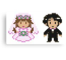 8-bit Bride and Groom Canvas Print