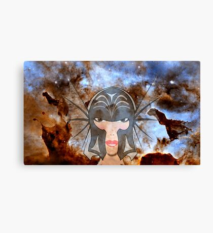 A Female Galactic Warrior at the Dust Pillars in the Carina Nebula Canvas Print