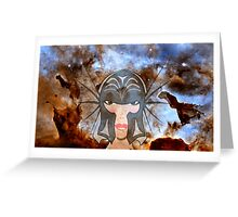 A Female Galactic Warrior at the Dust Pillars in the Carina Nebula Greeting Card