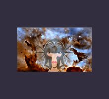 A Female Galactic Warrior at the Dust Pillars in the Carina Nebula Womens Fitted T-Shirt