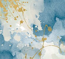 Modern navy and gold abstract painting by AnnaGo