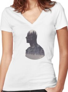 Lincoln - The 100 - Forest Women's Fitted V-Neck T-Shirt