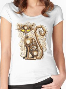 Steampunk Cat Vintage Style Women's Fitted Scoop T-Shirt