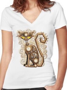 Steampunk Cat Vintage Style Women's Fitted V-Neck T-Shirt