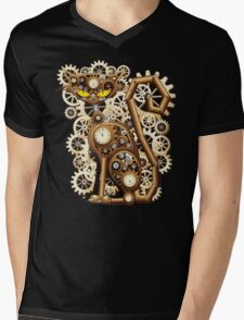 Steampunk Cat Vintage Style Mens V-Neck T-Shirt