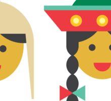 a quechua boy and girl Sticker