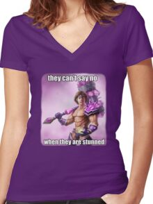 They can't say no to Taric <3 Women's Fitted V-Neck T-Shirt