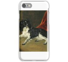 Richard Ramsay Reinagle - A King Charles Spaniel by a Fireplace iPhone Case/Skin