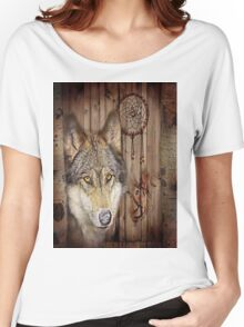 western country native dream catcher wolf art Women's Relaxed Fit T-Shirt