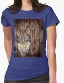 western country native dream catcher wolf art Womens Fitted T-Shirt