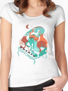 Jazz Cats Blue and Brown Women's Fitted Scoop T-Shirt