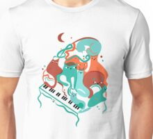 Jazz Cats Blue and Brown Unisex T-Shirt