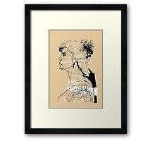 Vintage girl ink drawing on craft paper Framed Print