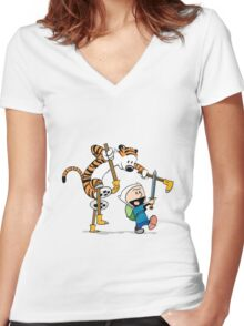 hobbes and calvin time advanture Women's Fitted V-Neck T-Shirt