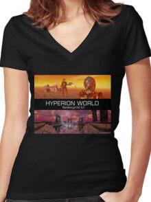 HYPERION WORLD SCIENCE FICTION Scifi Women's Fitted V-Neck T-Shirt