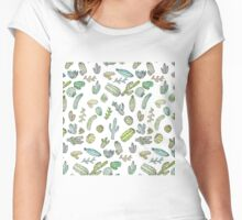 Cute Green Watercolor Paint Summer Cactus Pattern Women's Fitted Scoop T-Shirt