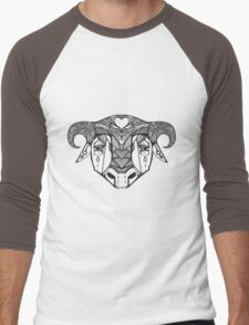 Authentic ethnic illustration with natural ornaments, animals Men's Baseball ¾ T-Shirt