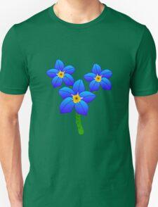 Three Pretty Blue Flowers Unisex T-Shirt