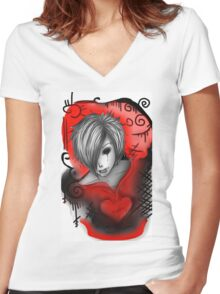 EMO- Bleeding Heart Women's Fitted V-Neck T-Shirt