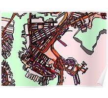 Abstract Map of East Boston Poster