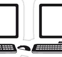 2 player lan party few mouse keyboard screen tv pc computer display image design Sticker